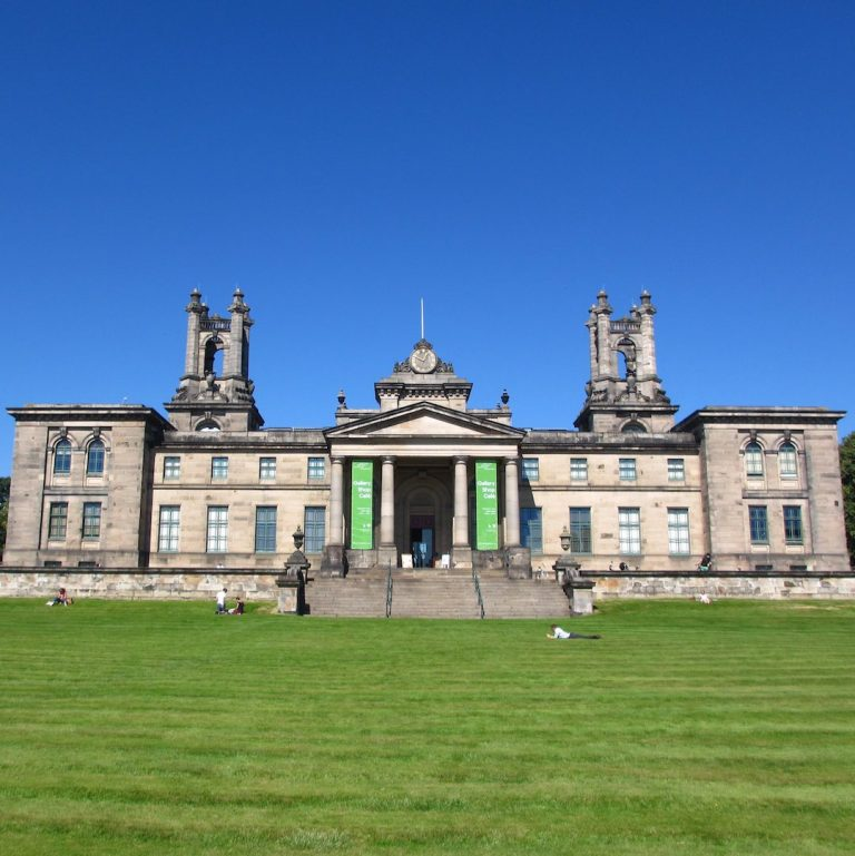 Neoclassical architecture of Dean Gallery on a beautiful summer day