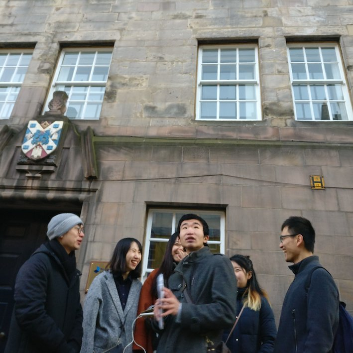 Mandarin Edinburgh Architecture Tour Group and building