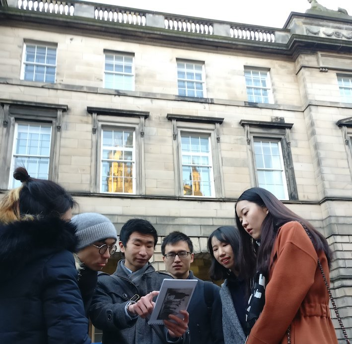 Mandarin Edinburgh Architecture Tour looking at the book