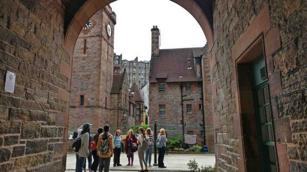 Inside the courtyard of Well Court social housing buildings in Edinburgh Dean Village