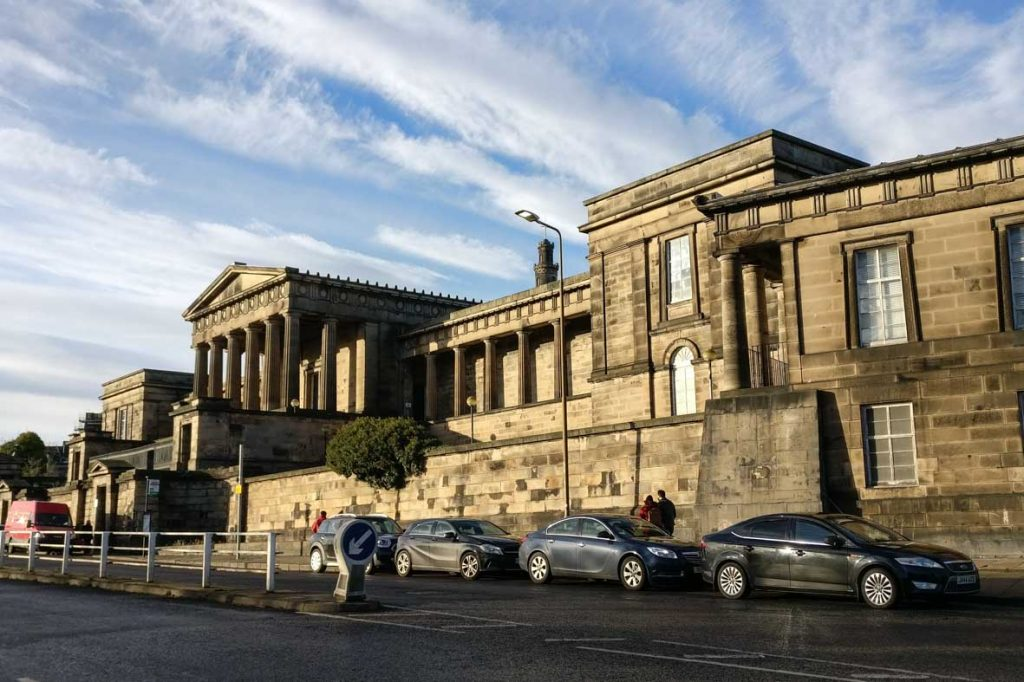 the Old Royal High School, one of the most beautiful Greek Revival buildings in Edinburgh