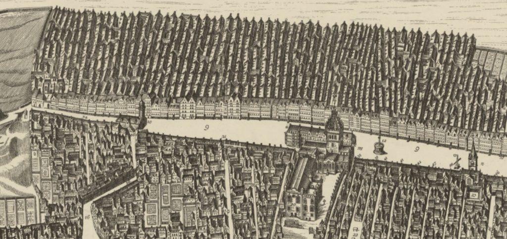 Bird's eye view of Edinburgh Old Town in 1647 : by James Gordon of Rothiemay