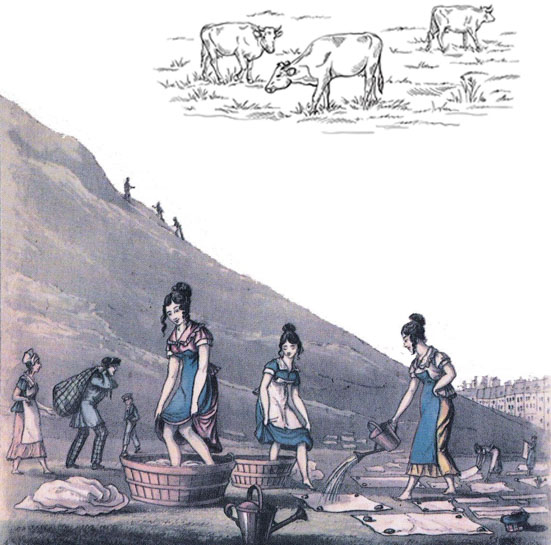 Washer women and grazing cattle