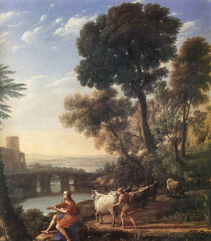 Painting of a water body, woodland and classical ruins