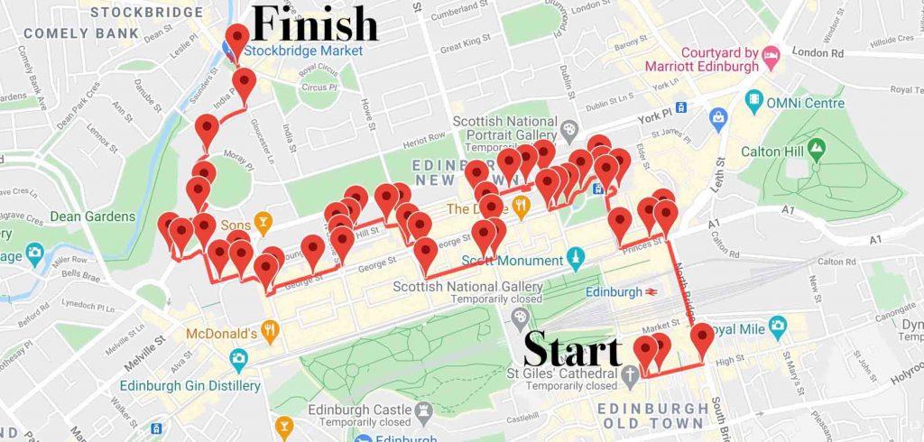Map of Edinburgh New Town audio tour