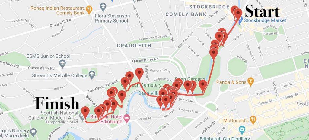 Map of Edinburgh Dean Village audio tour