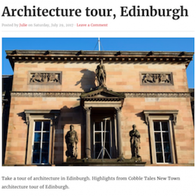 Excerpt of an article about architecture Edinburgh tours on Artravelist